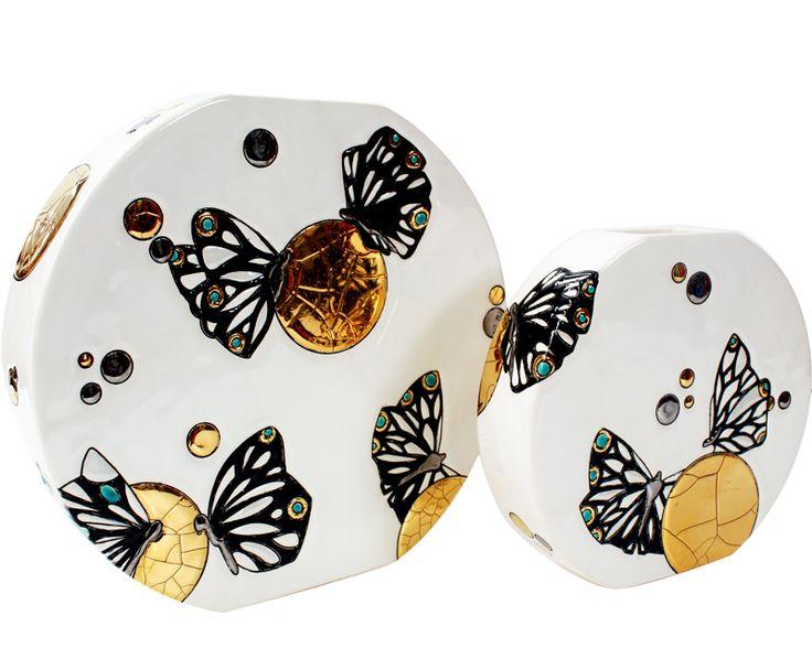Vase Discobol GM (Mrs Butterfly) - Nature et Univers Aquatiques/Mrs Butterfly - Emaux et Faïences de Longwy