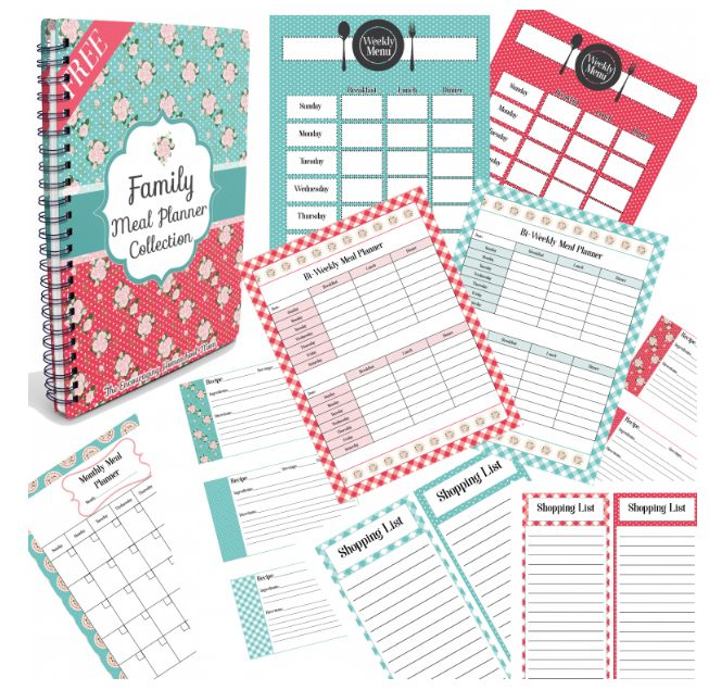 Download a free printable family meal planner collection that includes meal planners for various time frames, plus recipe cards and grocery lists!
