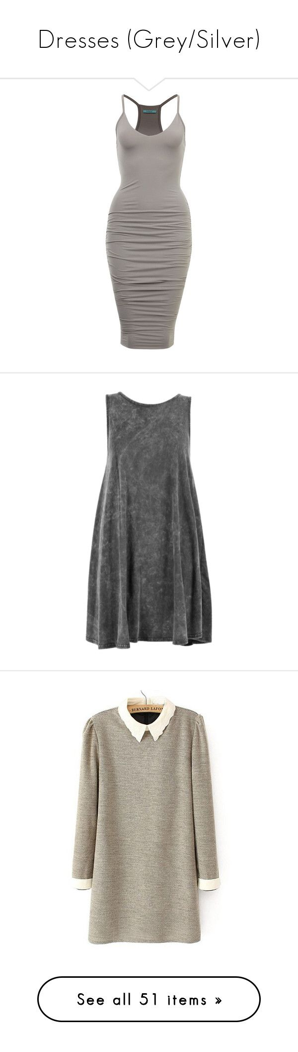 """Dresses (Grey/Silver)"" by youreapeach ❤ liked on Polyvore featuring dresses, vestidos, grey, short dress, short grey dress, grey dress, short gray dress, gray mini dress, mini dress and acid wash dress"
