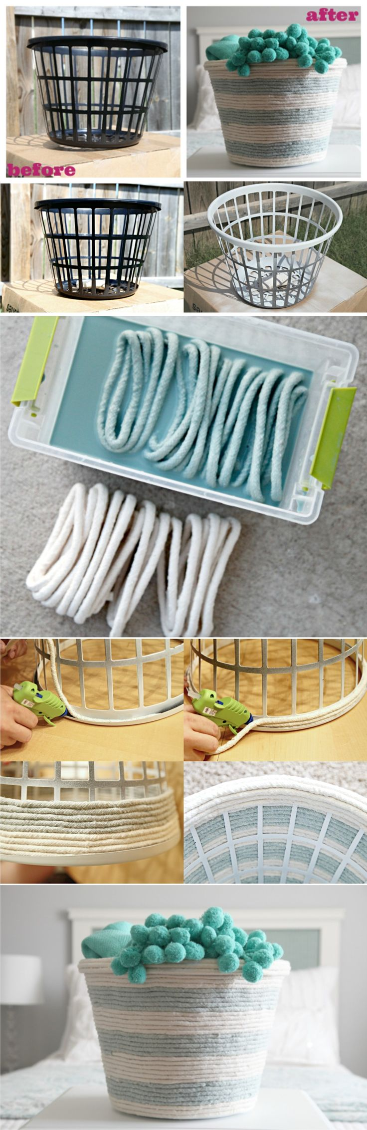 Dollar store laundry basket, hot glue gun, rope, Tah dah!! Tutorial