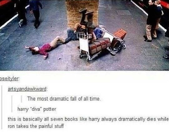Ron = face plant; Harry = graceful diva
