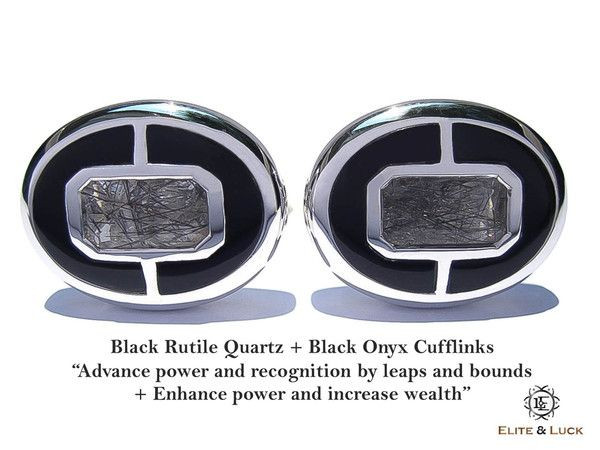 """Black Rutile Quartz + Black Onyx Sterling Silver Cufflinks, Rhodium plated, Prestige Model """"Advance power and recognition by leaps and bounds + Enhance power and increase wealth"""" *** Combine 2 Gemstone Powers to double your LUCK ***"""