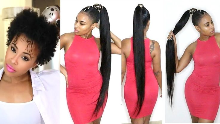 How to do a Quick Weave Long Ponytail on Short Natural Hair! [Video] - https://blackhairinformation.com/video-gallery/quick-weave-long-ponytail-short-natural-hair-video/