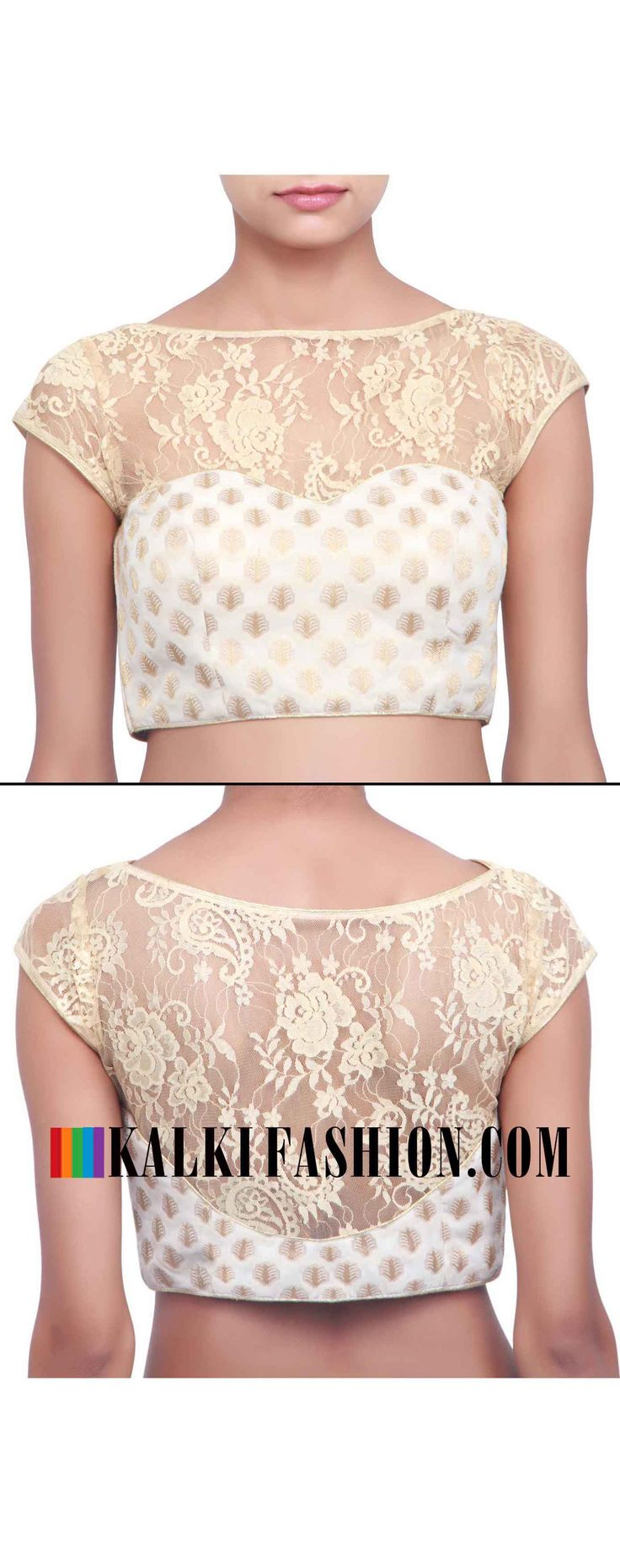 Buy online at: http://www.kalkifashion.com/blouse-featuring-in-cream-with-chantilly-lace-only-on-kalki.html Free shipping worldwide.