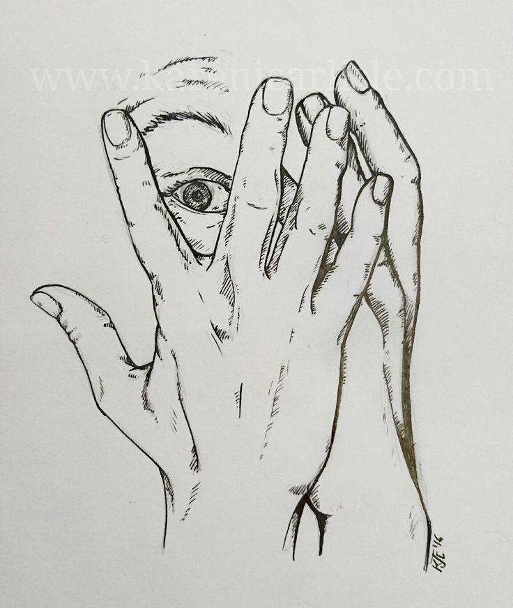 Day 13: Scared. Study of hands copyright 2016 Karen Carlisle