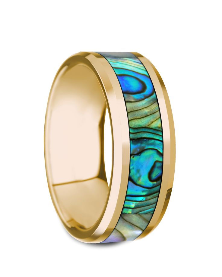 NACRE Beveled Polished 14K Yellow Gold Mother of Pearl Inlay - 8mm #goldring #motherofpearl