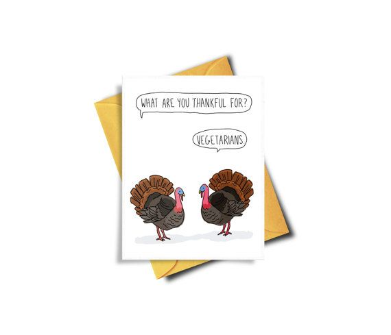 Funny Thanksgiving Card For Vegetarian by BAECKANN on Etsy