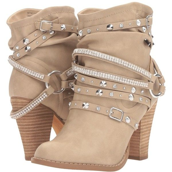 Not Rated Swazy (Cream) Women's Boots ($80) ❤ liked on Polyvore featuring shoes, boots, ankle booties, ankle boots, slip on boots, thick heel booties, chunky heel bootie, studded boots and pull on boots