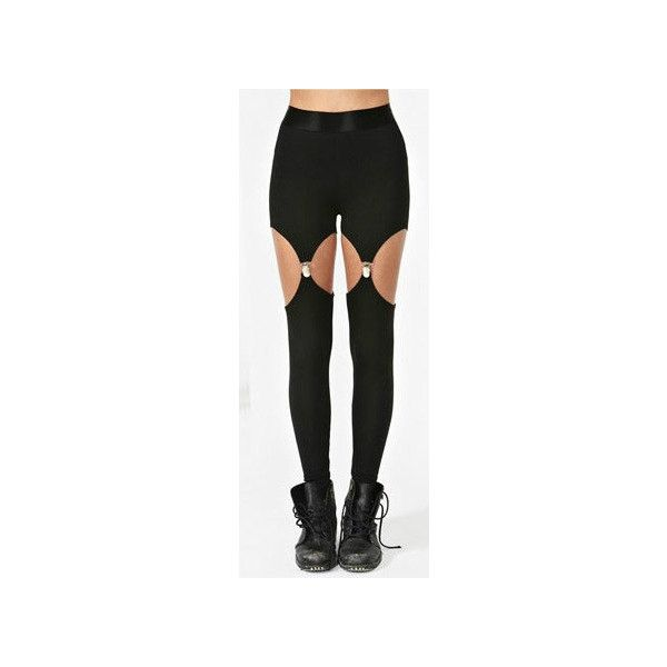 Garter Leggings suspender leggings (€35) ❤ liked on Polyvore featuring pants, leggings, garter leggings, suspender leggings and garter pants