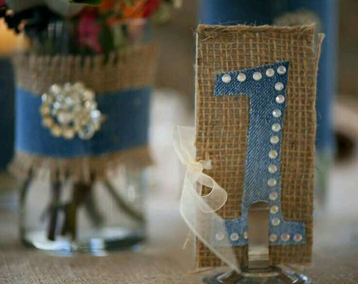 Easy To Update And Change Existing Vases Fit Theme Burlap Denim With A Little Sparkle Rustic Wedding Inspiration From Cedarwood Weddings