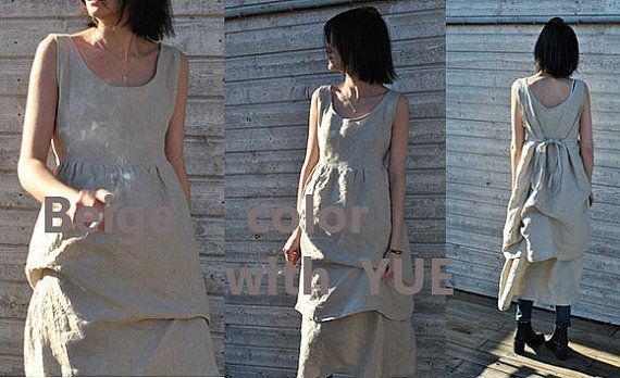Handmade linen dress with a double skirt in 100% finest by YOUSAKO