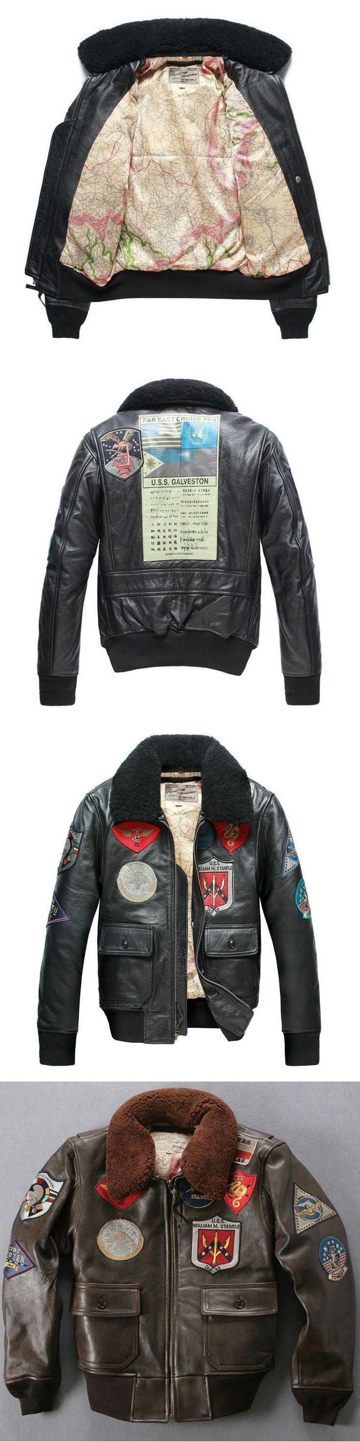 Avirex fly fur collar genuine leather jacket men brown thick sheepskin flight jacket black men's winter leather coat pilot suit #MensFashionRock
