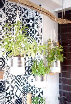 Côté cuisine on détourne d'anciennes boîtes de conserve pour créer un jardin suspendu et installer des plantes aromatiques.