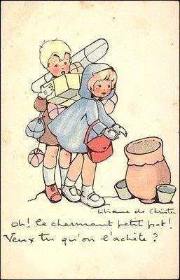 Kunstler-Ak-de-Christen-Liliane-Oh-le-charmant-petit-pot-Einkauf-Madchen