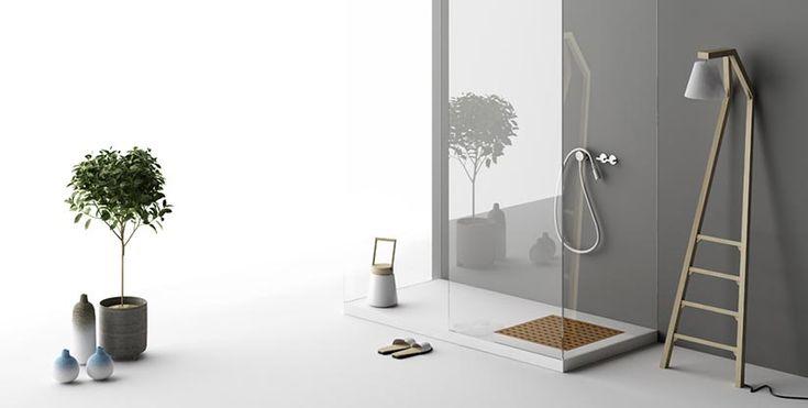 Piatto doccia in Corian con pedana removibile in teak | Grid