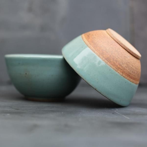Handmade Green Dip Dye Ombre Ceramic Bowl - Hammers and Heels  - 1