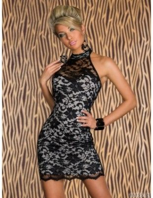 Halterneck Black Lace Dress
