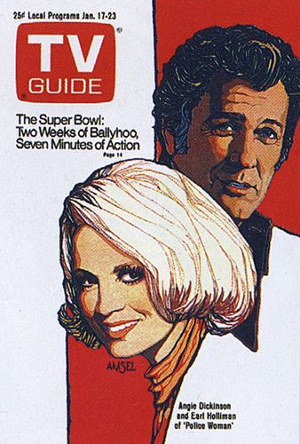"Richard Amsel TV Guide Cover, January 17, 1976, ""Angie Dickinson & Earl Holliman in Police Woman"""