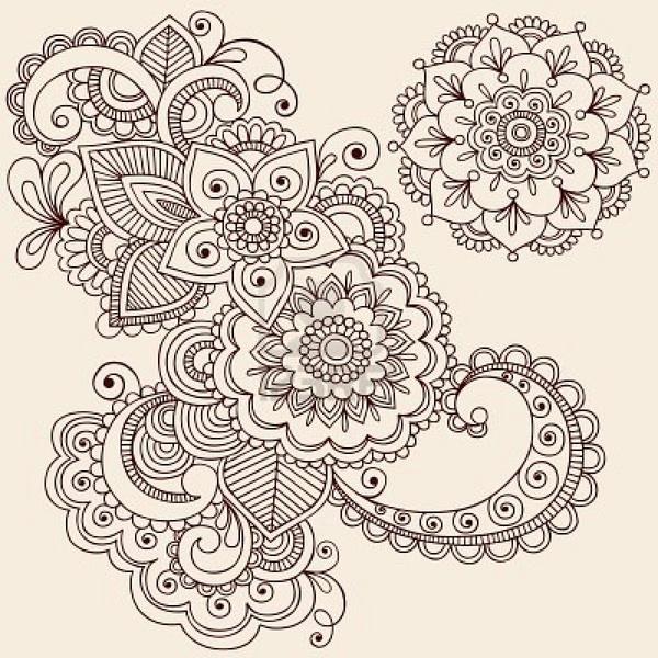 Mehndi Tattoo Mandala : Hand drawn intricate abstract flowers and mandala mehndi