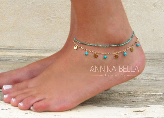 Set Of 2 Anklets Turquoise Anklet Gold Coin Anklet by annikabella