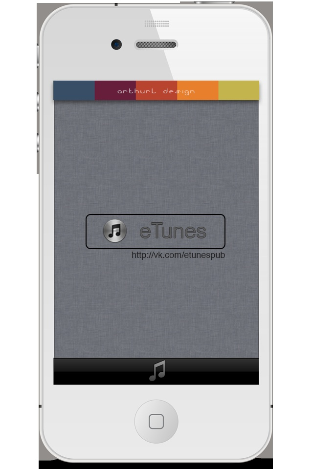 New avatar for eTunes Project. In start, must be black iPhone, but in process I understanding, that white version looks more stylish, because bottom bar don`t interfere:)