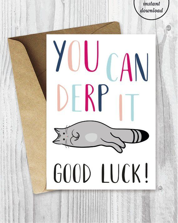 Good Luck Cards Funny Cat Good Luck Printable Cards You Can Etsy Good Luck Cards Printable Cards Encouragement Cards