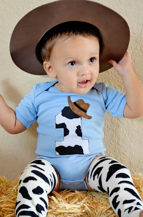 Baby Boy's Cowboy First Birthday Bodysuit Cow by Peaceloveandkids, $28.00