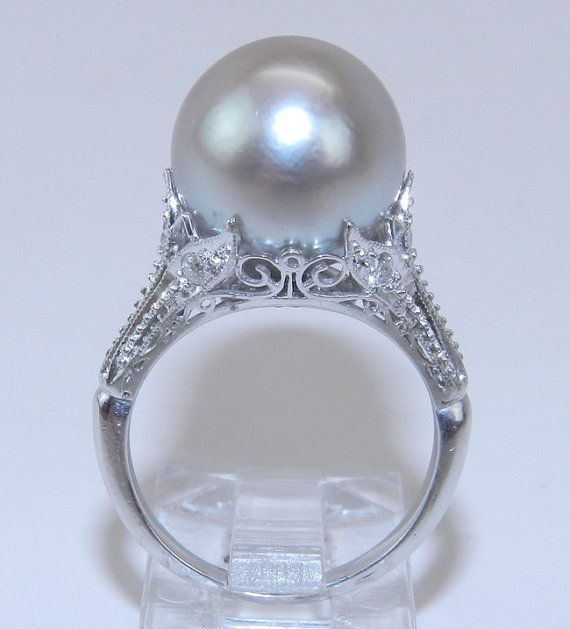 Antique 14K White Gold Filigree Diamond  Gray South Sea Pearl Engagement Ring