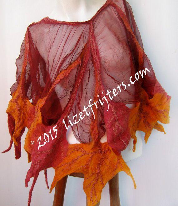 Красный Нуну войлочная Фея Пончо Весна Лето Осень Красный и оранжевый Листья Fibre Искусство