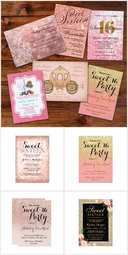 Sweet 16 Pink Glitter Party Invitations