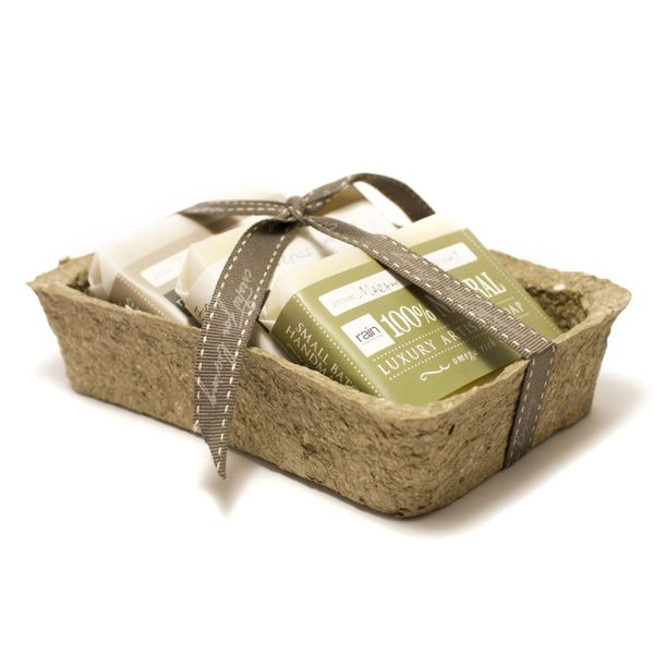 Rainall natural  Artisan soap set in recycled paper mache container