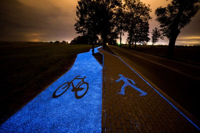 Poland builds a solar-powered bike path that glows a ghostly blue