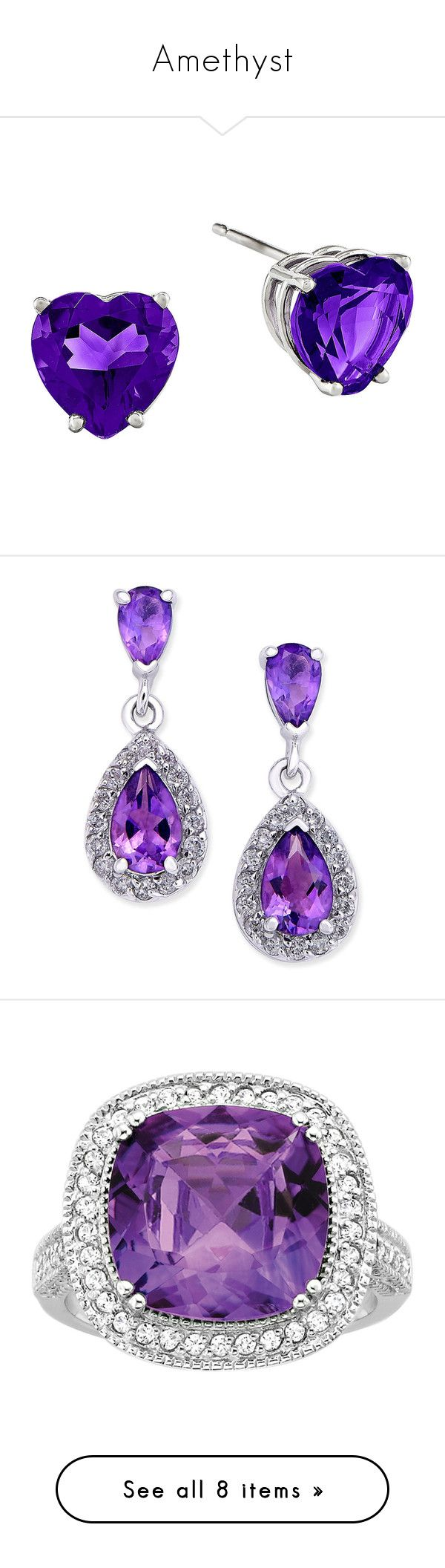 """Amethyst"" by mockingjay5-1 ❤ liked on Polyvore featuring jewelry, earrings, 14 karat gold stud earrings, heart shaped stud earrings, heart stud earrings, 14k earrings, amethyst jewelry, white gold, 14k diamond earrings and amethyst earrings"