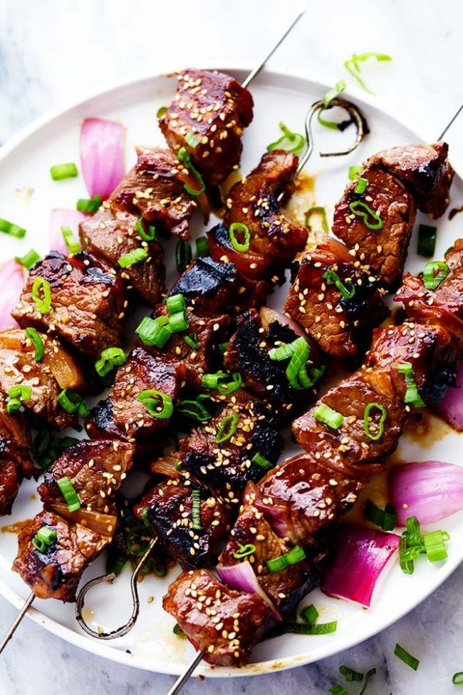 Grilled Asian Garlic Steak Skewers | The Recipe Critic