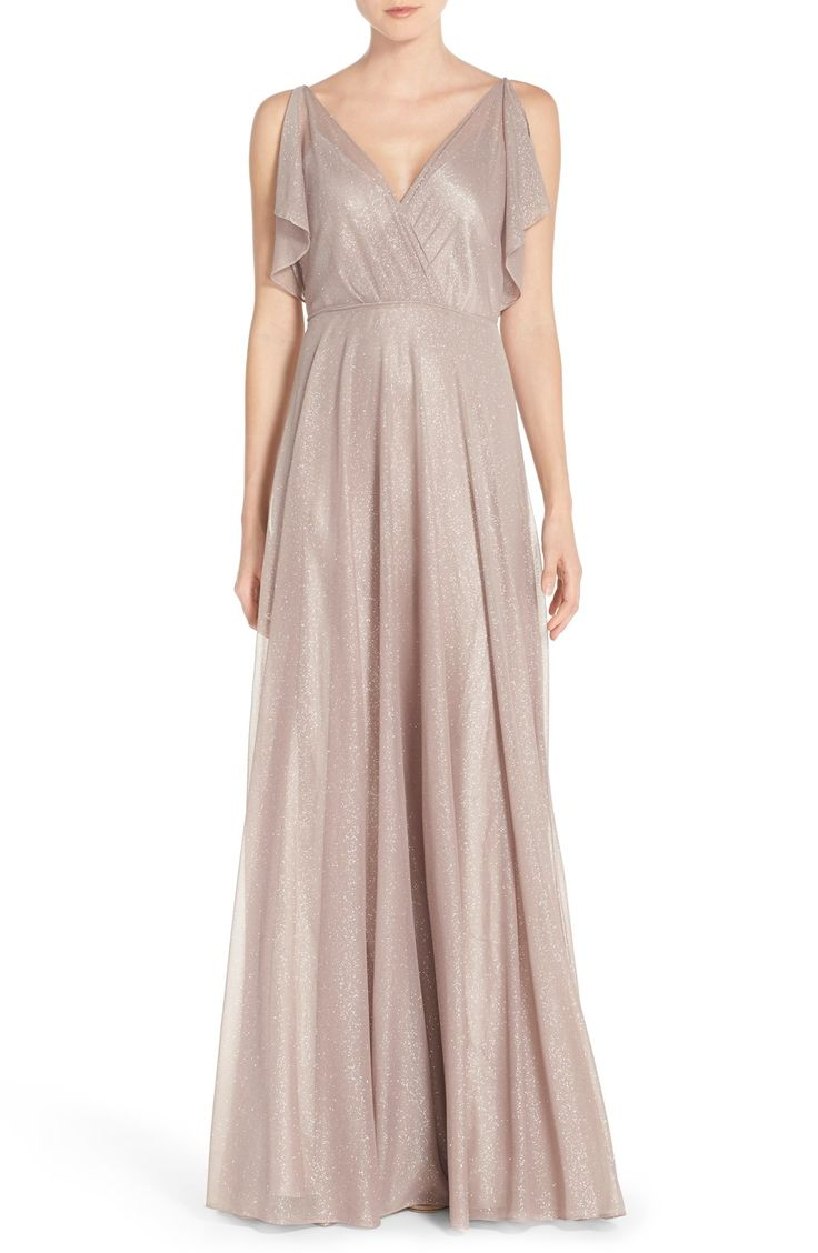 187 best neutral bridesmaid dresses images on pinterest cassie v neck flutter sleeve shimmer gown ombrellifo Choice Image