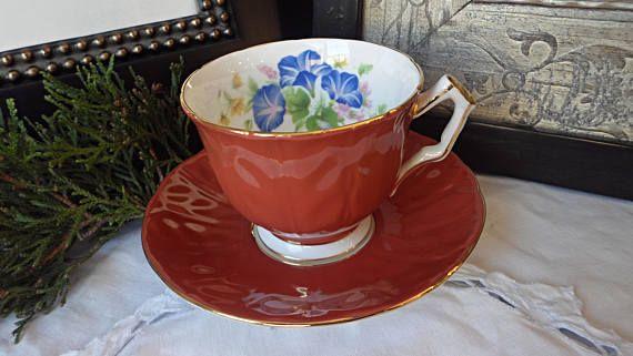 Aynsley Orange Teacup and Saucer Crocus Shape Blue Bell
