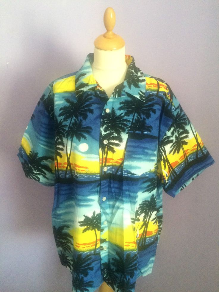 £6.99  Vintage 1940s 1950s style  Hawaiian Rockabilly shirt size XL