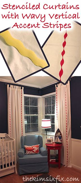 The Kim Six Fix: Stenciled Curtains: Vertical Accent Stripes (Waves)