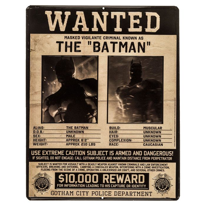 Batman Wanted Poster Embossed Tin Sign⎜open Road Brands