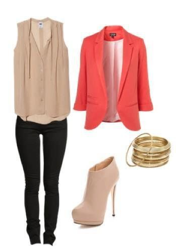 I will never wear stilettos, so the shoes are out!  But I love the nude, sheer top, skinnies, and the coral blazer.