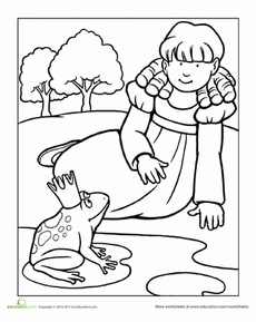 Color the Princess and the Frog Worksheet