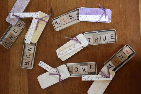 Wedding Favors Scrabble Letter Slide Tin Favour Tins  from 2pupeez