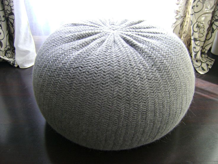 diy tutorial large knitted pouf poof ottoman by iswoolish crochet knitted