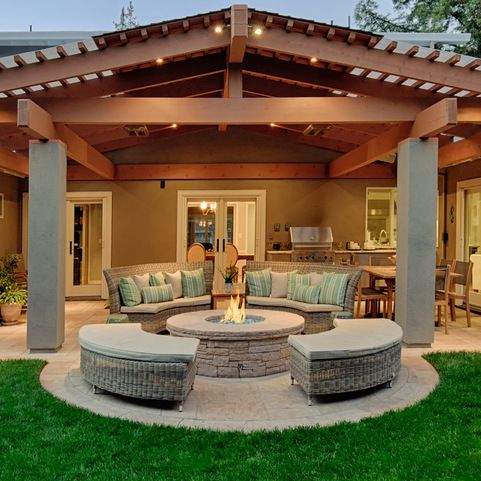 exterior design gorgeous traditional back patio designs with plait furniture also plait pouffe also traditional fireplace design with stones fire surround - Patio Design Ideas With Fire Pits
