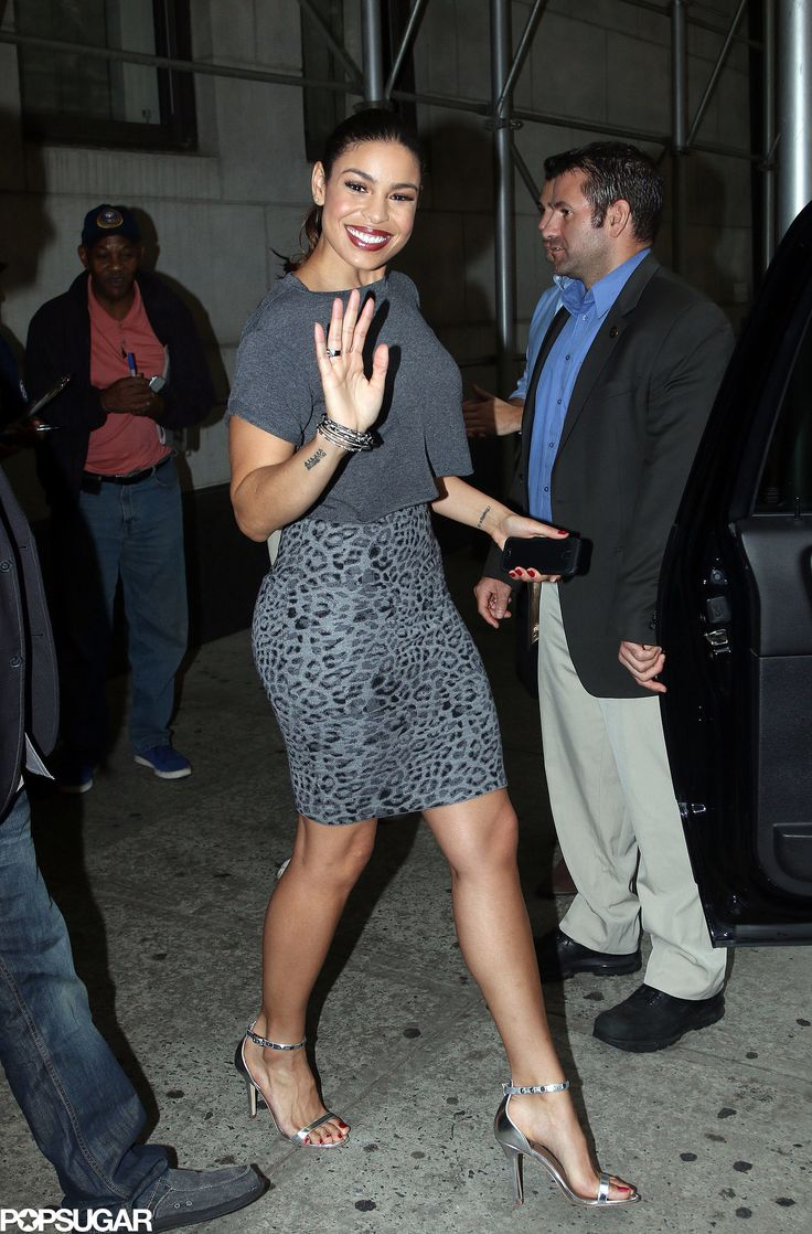 Jordin Sparks in an animal print skirt