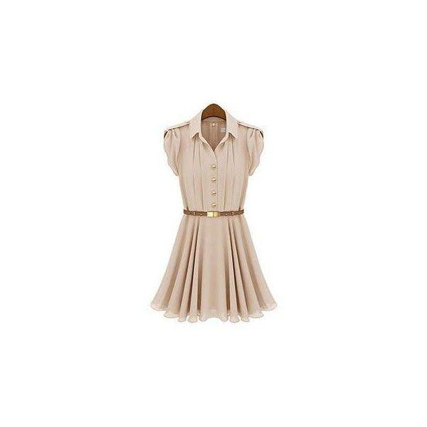 Short-Sleeve Pleated Chiffon Shirt Dress ($11) ❤ liked on Polyvore featuring dresses, women, flare dress, pink short sleeve dress, pleated shirt dress, short-sleeve dresses and shirt dress