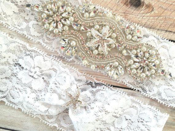 Starfish Wedding Garter White By TheRaggedDiamond