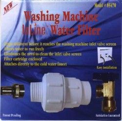 Washing Machine Water Filter 85470 Traps Sediment Inline to the Washing Machine