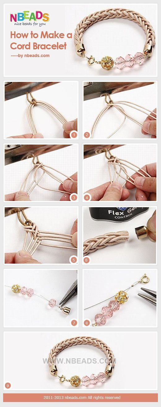 How to Make A Cord Bracelet – Nbeads Love it as we have leather cording that needs a good use!