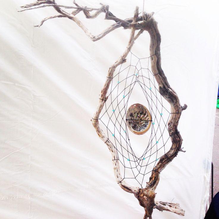 Large driftwood dreamcatcher with hemp cord, glass beads, and an abalone shell #driftwood #dreamcatcher #hempcord #seashells #abalone #handmade #handicraft #artwork #sculpture